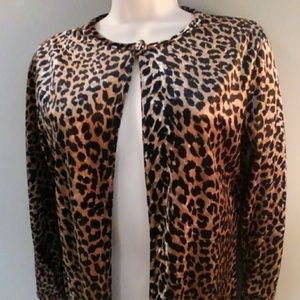 Vintage Leopard Print Velvet Cardigan